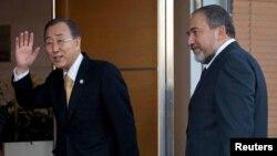 بان يلتقي في القدس وزير الخارجية الإسرائيلي أفيخدور ليبرمان