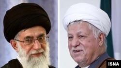 Photo montage of Supreme Leader Ayatollah Ali Khamenei (left) and Iran's influential former president, Ali Akbar Hashemi Rafsanjani