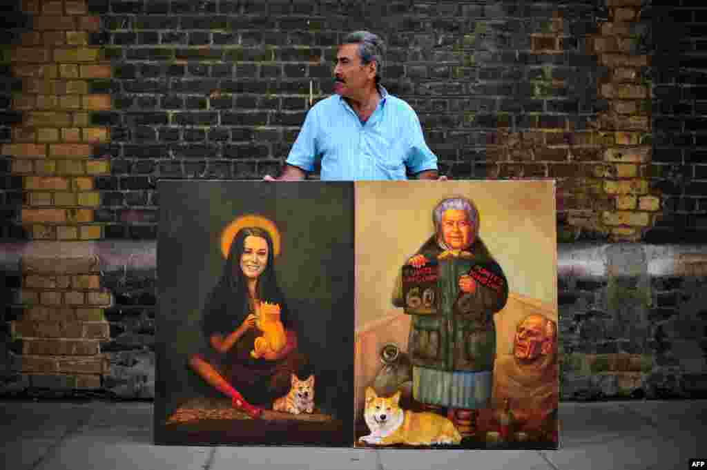 Artist Kaya Mar poses with paintings of Britain's Queen Elizabeth II and Catherine, Duchess of Cambridge, outside St. Mary's Hospital.