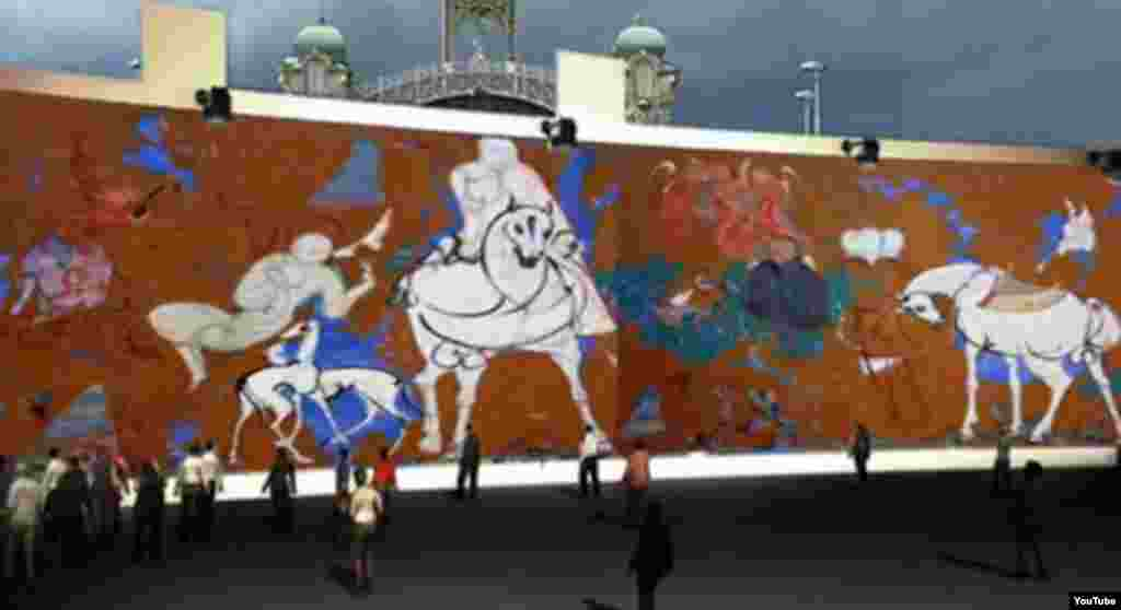 "A promotional video presents a mock-up of the exhibition of the massive ""Thousand Angels and One Painting"" in Prague."