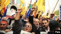 Участники антиамериканской демонстрации в Тегеране. 4 ноября 2013 года.