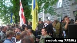Pamje nga protesta e sotme në Kiev të Ukrainës