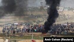 Израил менен чектешкен Газа тилкесиндеги кагылыш. 6-апрель, 2018-жыл.