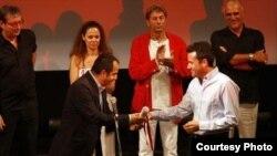 Milos Teodorovic accepts the Human Rights Award at the Sarajevo Film Festival