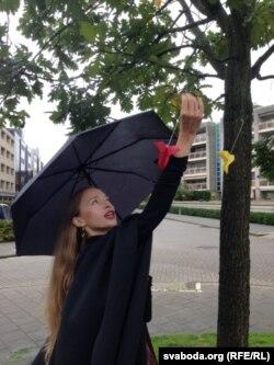 Валерыя Красоўская на акцыі памяці зьніклых у Эйндховэне