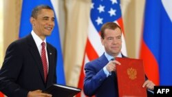 U.S. President Barack Obama (left) and Russian President Dmitry Medvedev signed the new START treaty on April 8.