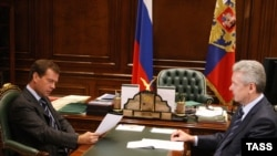 President Dmitry Medvedev (left) meets with Sergei Sobyanin in September 2009.