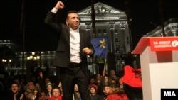 Архивска фотографија-претседателот на СДСМ Зоран Заев во обраќање пред владата на изборната ноќ, Скопје,11.12.2016