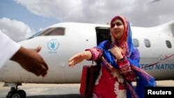 Pakistani Nobel Peace Prize laureate Malala Yousafzai arrives to celebrate her 19th birthday at the Dadaab refugee camp near the Kenya-Somalia border on July 12.