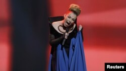 "Finalist Rona Nishliu of Albania performs her song ""Suus"" during the first semifinal of the Eurovision Song Contest in Baku on May 22."