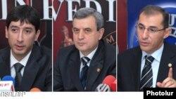 Депутаты Национального Собрания Ара Нранян, Гагик Минасян и заместитель министра финансов Вардан Арамян (слева направо).