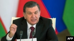 Uzbek President Shavkat Mirziyaev speaks to reporters at a press conference last year. (file photo)