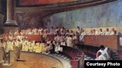Чезаре Маччари. Цицерон обличает Катилину. 1889