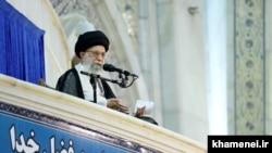 Iran's Supreme Leader Ali Khamenei, delivering his speech in a ceremony in Tehran, on Sunday June 04, 2017.