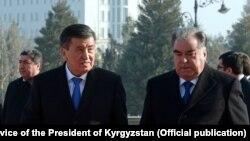 Кыргызстандын президенти Сооронбай Жээнбеков менен Тажикстандын президенти Эмомали Рахмон. 1-февраль, 2018-жыл