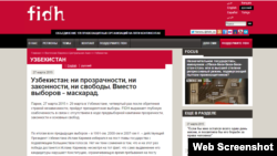 Screenshot of FIDH website