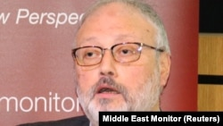 Saudi dissident Jamal Khashoggi speaks at an event hosted by Middle East Monitor in London on September 29.