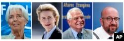 Christine Lagarde, Ursula von der Leyen, Josep Borrell and Charles Michel.