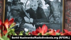 A memorial to slain Ukrainian journalist Vadym Komarov