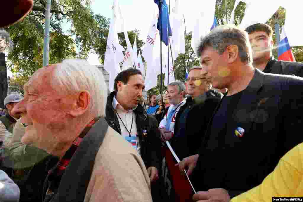 Перед началом движения - Борис Немцов, Михаил Касьянов, Юрий Рыжов и Петр Царьков
