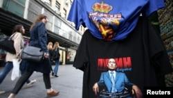 Majica sa likom Vladimira Putina u Knez Mihailovoj ulici u centru Beograda