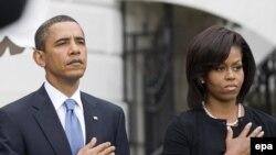 Барак и Мишель Обама на церемонии в память о погибших 11 сентября
