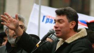 Россия. Борис Немцов на митинге, Москва, 24.11.2007