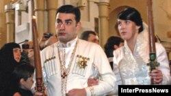 Венчание Давида Багратион-Мухранского и Анны Багратион-Грузинской в кафедральном соборе Самеба в Тбилиси, 8 февраля 2009 г.