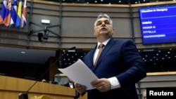 Архива - Унгарскиот премиер Виктор Орбан во Европскиот Парламент.