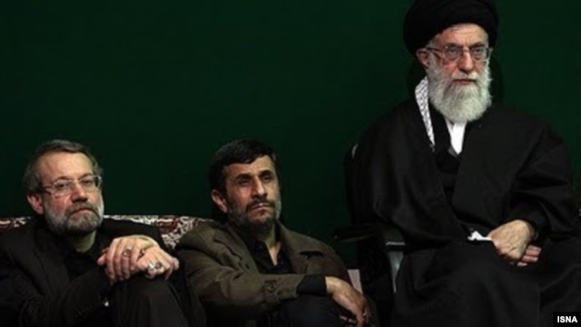 Unlike Iranian President Mahmud Ahmadinejad (center), proposed Iranian election reform could play into the hands of other establishment figures such as parliament speaker Ali Larijani (left) and Supreme Leader Ali Khamenei (right).