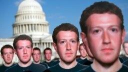"""Вашингтон, 10 апреля 2018 года: сотни """"фейковых Цукербергов"""" из картона, установленных активистами общественной организации Avaaz для привлечения внимания к проблеме фейковых страниц в сети Facebook"""
