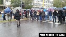 Radnici blokirali prometnicu, Tuzla 22. listopada 2014.