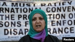 India -- Parveena Ahanger, chairperson of the Association of Parents of Disappeared Persons (APDP), addresses a demonstration to mark the International Day of Disappeared Persons in Srinagar, 30Aug2012