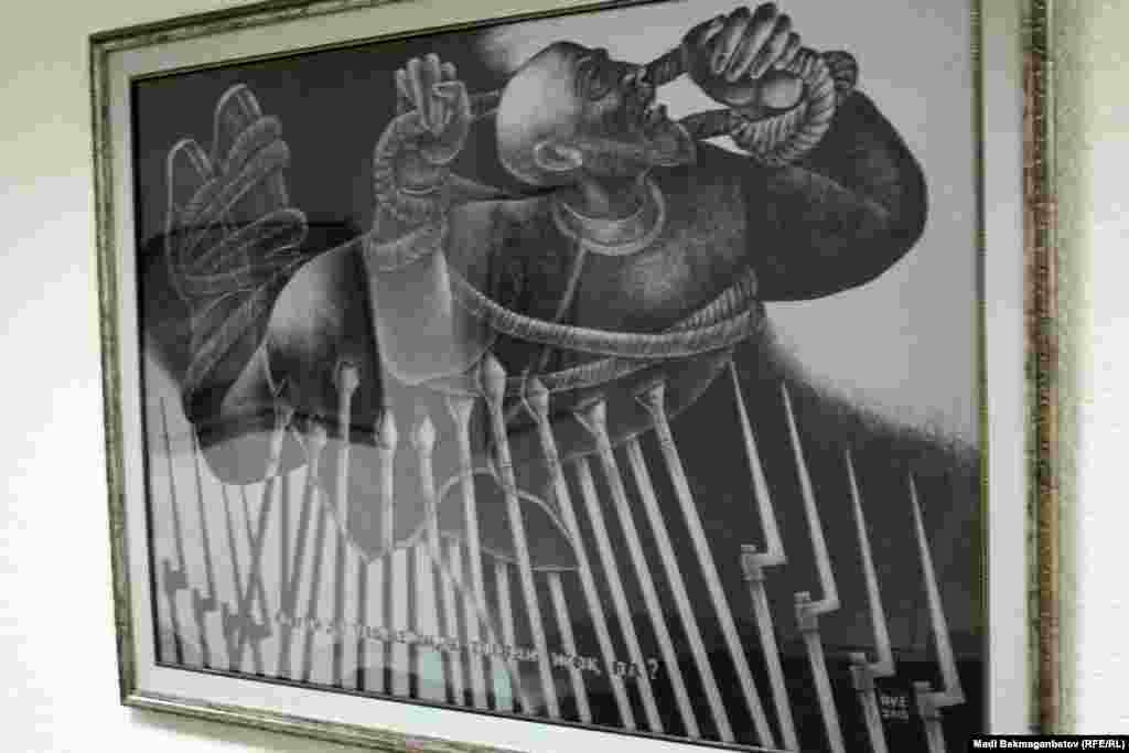 Қазақтың соңғы ханы саналатын Кенесарының өлімі туралы аңызға арналған тағы бір картина. (Суретші О. Есенбаев).Астана, 17 қыркүйек 2015 жыл.