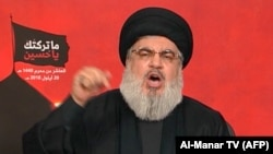 LEBANOn -- Sayyed Hassan Nasrallah, the head of Lebanon's militant Shi'ite movement Hizballah, gives a televised address from an undisclosed location in Lebanon, September 20, 2018