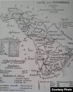 Harta Basarabiei, folosită la Conferința de Pace de la Paris (Foto: I. Țurcanu, M. Papuc, Basarabia în actul Marii Uniri de la 1918)