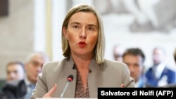 SWITZERLAND -- European Union Foreign Policy Chief Federica Mogherini delivers her statement, during the United Nations Conference on Afghanistan, at the UN Offices in Geneva, November 28, 2018