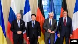 Керівники МЗС Франції, України, Німеччини та Росії (Л-П)