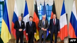 (From left) France's Laurent Fabius, Ukraine's Pavlo Klimkin, Germany's Frank-Walter Steinmeier, and Russia's Sergei Lavrov meet in Berlin on the Ukraine crisis.