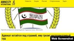 Фрагмент скриншота с сайта международной правозащитной организации Amnesty International.