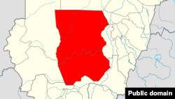 منطقه کردفان (در نقشه) به بخشهای شمالی، جنوبی و غربی تقسیم شده است