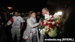 Оппозиционный политики Николай Статкевич был освобождён из трюмы по указу о помиловании президента А.Лукашенко. Минск, 22 августа 2015 года.