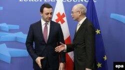 Վրաստանի վարչապետ Իրակլի Ղարիբաշվիլի, Եվրոպայի խորհրդի նախագահ Հերման Վան Ռոմպոյ
