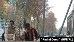 Pamje nga një rrugë e kryeqytetit Dushanbe në Taxhikistan
