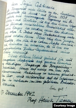 O recomandare a profesorului Heinz Tiessen din anii războiului (foto: Gertie Bauer)