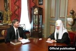 Встреча патриарха Кирилла с министром юстиции Андреем Коноваловым 3 июля 2009 года