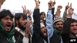 Protesters shout anti-U.S. slogans during a demonstration in Jalalabad, in eastern Afghanistan, on March 13.