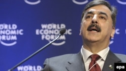 Switzerland -- Pakistani Prime Minister Yousaf Raza Gillani speaks at the World Economic Forum in Davos, 29Jan2009