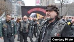 """Ленин Јовановски, претседател на македонскиот мото клуб """"Ноќни волци""""."""