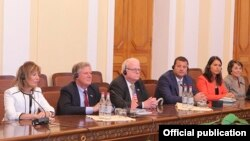 Armenia - Members of the U.S. House of Representatives at a meeting with Armenian parliamentarians in Yerevan, 19Sep2017.